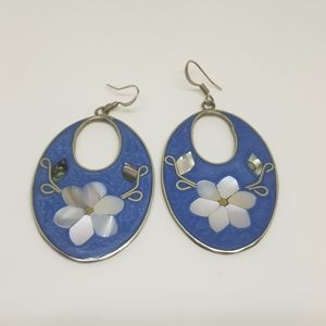 Vintage Mexico Alpaca Silver Shell Flower Earrings